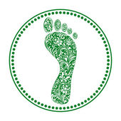Floral human footprints — Stock Vector
