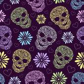 Seamless pattern with abstract floral skulls — Stock Vector