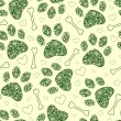 Royalty-Free Stock Imagen vectorial: Seamless pattern with floral animal paw print