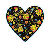 Floral heart with traditional russian pattern — Stock Vector