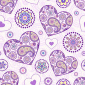 Seamless pattern with abstract floral hearts — Stock Vector
