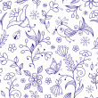 Seamless pattern with abstract flowers — Stok Vektör