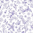 Seamless pattern with abstract flowers — Imagen vectorial