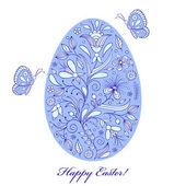 Floral easter egg on white background — Stock Vector