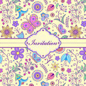 Colorful floral invitation card — Stock Vector