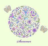цветочные рука нарисованные красочным узором — Cтоковый вектор