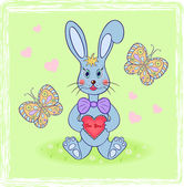 Cartoon rabbit with abstract heart — Stock Vector