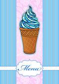 Menú colorido con el icono de helado — Vector de stock