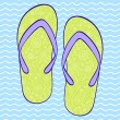 Flip-flop on blue wavy backround - Stock Vector