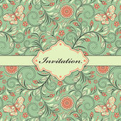 Floral invitation card — Stock Vector