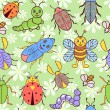 Seamless pattern with cute colorful insects — Stock Vector