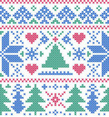 Pattern with trees and snowflakes — Stock Vector