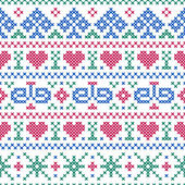 Seamless pattern embroidery cross-stitch style — Stock Vector