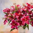 Pink lilies on colored background — Stock Photo #12800870