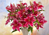 Pink lilies on a colored background — Stock Photo