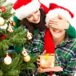 Young happy couple near Christmas tree. — Stock Photo #29832505