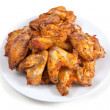 Plate of delicious barbecue chicken wings — Stock Photo #30594591