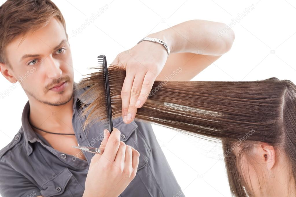 Professional Hairdresser : Professional hairdresser with long hair model ? Stock Photo ...
