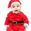 Little  baby girl  in red Christmas clothes. — Stockfoto