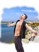 Man posing outdoor in summer sun light — Foto de Stock