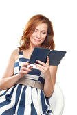 Business woman uses a ebook — Stock Photo