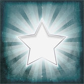 Silver rimmed star on aged light rays parchment — Stock Vector