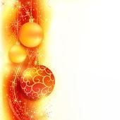 红色金色圣诞背景与挂圣诞球 — 图库矢量图片