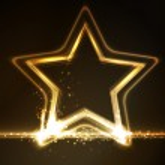 Golden glowing star frame — Stock Vector