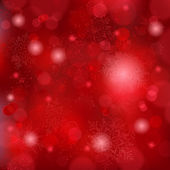 Beautiful soft red snowflake background with bokeh lights — Vetor de Stock