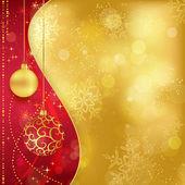 Rode gouden Kerstmis achtergrond met kerstballen — Stockvector