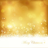 Golden glowing Christmas background with stars, snowflakes and lights — Stock Vector
