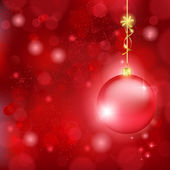Beautiful red Christmas background with bauble and golden bow — Stock Vector