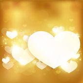 Fondo amore cuore incandescente oro con luci e stelle — Vettoriale Stock