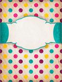 Färgglada texturerat polka dot design med etikett — Stockvektor