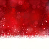 Red Christmas background with snowflakes and stars — Stock Vector