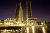 Twin towers at night, bangkok,Thailand — Stock Photo