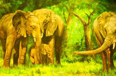 Oil paintings. An elephant — Stock Photo