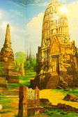 Oil paintings. City of Ayutthaya in Thailan — Stock Photo