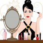 Glamour woman applying makeup — Stock Vector #5357358