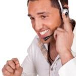 Male call centre operator or receptionist — Stock Photo