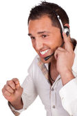 Male call centre operator or receptionist — Stock Photo