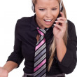 Harassed call centre operator — Stock Photo