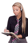 Receptionist taking messages — Stock Photo
