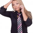 Worried woman listening to her mobile phone — Stock Photo #21137729