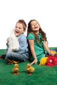 Young boy and girl laughing together — Stock Photo