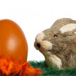 Easter bunny with an orange egg — Stock Photo
