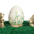 Handpainted Easter Egg with bunnies — Stock Photo #21856353