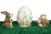 Handpainted Easter Egg with bunnies — Stock Photo