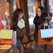 Two happy young women holding shopping bags - Stock Photo