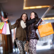 Two playful female shoppers - Stock Photo